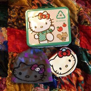 Hello Kitty Metal Lunchbox, Coin Purse, Beanie